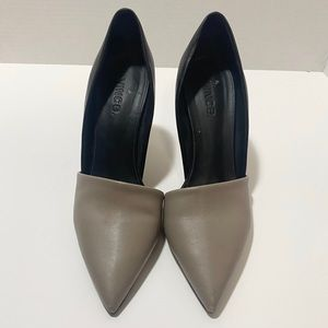 Vince grey and black pointy toe skinny high heel